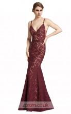 Dark Burgundy Lace Mermaid V-neck Long Prom Dress(JT3599)