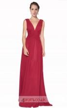 Burgundy Chiffon A-line V-neck Long Prom Dress(JT3601)
