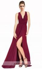 Dark Burgundy Chiffon A-line V-neck Long Prom Dress With Split Side(JT3605)