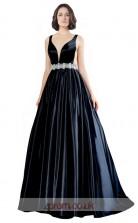 Dark Navy Stretch Satin A-line V-neck Long Prom Dress(JT3607)