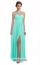Deep Sky Blue Chiffon A-line Illusion Long Prom Dress With Split Side(JT3615)