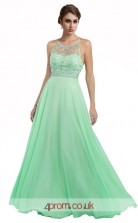 Light Blue Chiffon A-line Illusion Long Prom Dress(JT3616)
