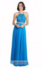 Blue Chiffon A-line Halter Long Prom Dress(JT3617)