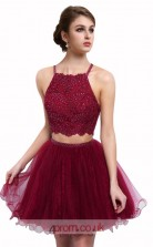 Dark Burgundy Tulle Lace A-line Halter Short/Mini Two Piece Prom Dress(JT3623)