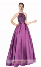 Purple Satin A-line Halter Long Prom Dress(JT3626)