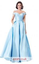 Light Blue Satin A-line Off The Shoulder Short Sleeve Long Prom Dress(JT3632)