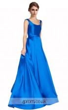 Blue Charmeuse A-line Scoop Floor Length Prom Dress(JT3637)