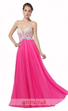Hot Pink Chiffon Princess Sweetheart Floor Length Prom Dress(JT3640)