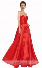 Firebrick Charmeuse Princess Sweetheart Floor Length Prom Dress(JT3645)