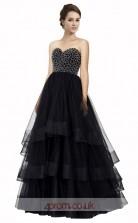 Black Tulle A-line Sweetheart Floor Length Prom Dress(JT3646)