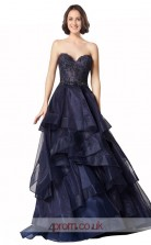 Dark Navy Organza Lace Princess Sweetheart Floor Length Prom Dress(JT3650)
