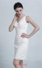 White Lace Sheath V-neck Short/Mini Prom Dress(JT3652)