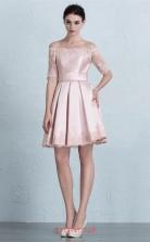 Blushing Pink Satin Lace A-line Off The Shoulder Short Sleeve Short/Mini Prom Dress(JT3654)