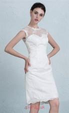 White Lace A-line Illusion Short Sleeve Short/Mini Prom Dress(JT3657)