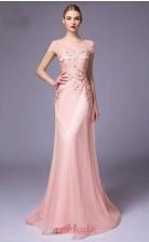 Nude Pink Tulle Mermaid Illusion Short Sleeve Floor Length Prom Dress(JT3666)