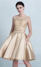 Champange Satin A-line Scoop Short/Mini Prom Dress(JT3680)