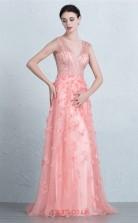 Candy Pink Tulle Mermaid V-neck Floor Length Prom Dress(JT3683)