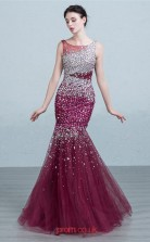 Dark Burgundy Tulle Mermaid Scoop Floor Length Prom Dress(JT3685)
