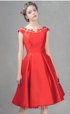 Red Satin A-line Scoop Short Sleeve Short/Mini Junior Prom Dress(JT3691)