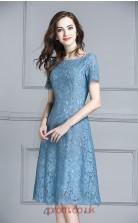 Corn Flower Blue Lace A-line Bateau Short Sleeve Knee-length Junior Prom Dress(JT3696)