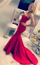 Red Satin Strapless Trumpet/Mermaid Long Sex Prom Dress(JT3700)
