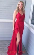 Light Burgundy Satin Chiffon Halter V-neck Sheath/Column Long Sex Prom Dress(JT3715)
