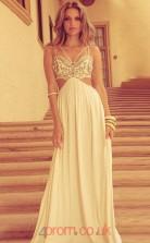 Ivory Chiffon Straps A-line Floor-length Sex Prom Dress(JT3717)