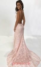 Blushing Pink Lace Halter V-neck Trumpet/Mermaid Long Sex Prom Dress(JT3729)