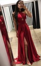 Burgundy Satin Chiffon Halter A-line Long Sex Prom Dress(JT3730)