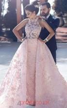 Candy Pink Lace Halter Princess Long Celebrity Dress(JT3734)