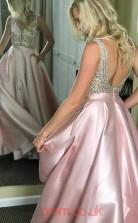 Blushing Pink Stretch Satin V-neck Princess Long Sex Prom Dress(JT3743)