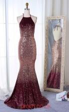 Dark Burgundy Sequined Halter Trumpet/Mermaid Long Celebrity Dress(JT3748)