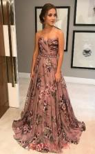 Multipatterned 30D Chiffon Sweetheart A-line Long Celebrity Dress(JT3762)