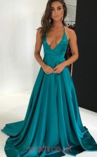 Turquoise Charmeuse V-neck A-line Long Sex Prom Dress(JT3783)