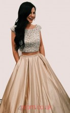 Champange Lace Stretch Satin Scoop Short Sleeve A-line Long Two Piece Prom Dress(JT3792)