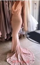 Pink Lace Trumpet/Mermaid Cowl Sweep Train Prom Dress(JT3801)