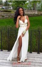 White Chiffon Sheath/Column V-neck Ankle-length Sex Prom Dresses(JT3893)