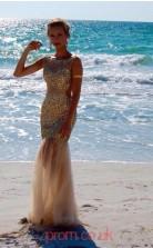 Light Champange Tulle Trumpet/Mermaid Bateau Floor-length Prom Dresses(JT3894)