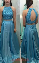 Pool Charmeuse A-line Jewel Long Two Piece Prom Dresses(JT3916)