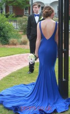 Blue Spandex Trumpet/Mermaid Bateau Long Graduation Dresses(JT3926)