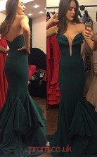 Dark Green Satin Trumpet/Mermaid Sweetheart Long Prom Dresses(JT3940)