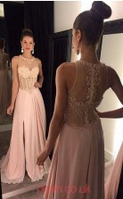 Pearl Pink Lace Chiffon A-line Halter Long Prom Dresses(JT3944)
