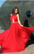 Red Chiffon A-line Halter Long Sex Prom Dresses(JT3945)