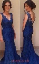 Royal Blue Lace Trumpet/Mermaid Scalloped Floor-length Prom Dresses(JT3966)