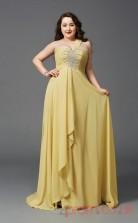 A-line Gold Lace,Chiffon One Shoulder Sleeveless Floor-length Plus Size Dress(PLJT8019)