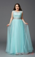 A-line Midium Turquoise Chiffon Scoop Short Sleeve Floor-length Plus Size Dress(PLJT8020)