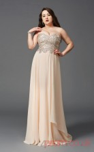 A-line Pearl Pink Tulle Sweetheart Sleeveless Floor-length Plus Size Dress(PLJT8021)