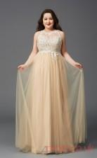 A-line Pale Goldrenrod Satin Chiffon Bateau Sleeveless Floor-length Plus Size Dress(PLJT8023)