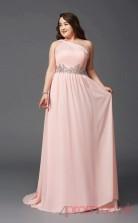A-line Blushing Pink Satin Chiffon One Shoulder Sleeveless Floor-length Plus Size Dress(PLJT8025)