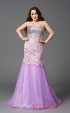 Trumpet/Mermaid Lilac Lace Sweetheart Sleeveless Floor-length Plus Size Dress(PLJT8027)